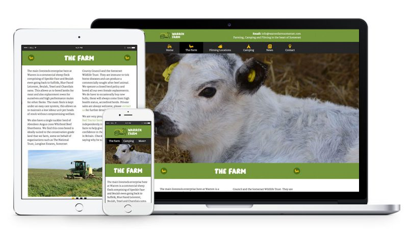Warren Farm Somerset WordPress Website